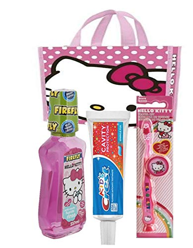Children's Dental Care Bundle: Crest Kids Toothpaste and Hello Kitty Firefly Toothbrush with Free Hello Kitty Tote