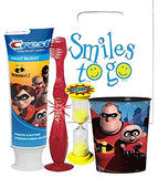 The Incredibles Inspired 4pc Bright Smile Hygiene Set! Light Up Toothbrush, Incredibles Toothpaste, Timer & Cup! Plus Bonus Tooth Necklace