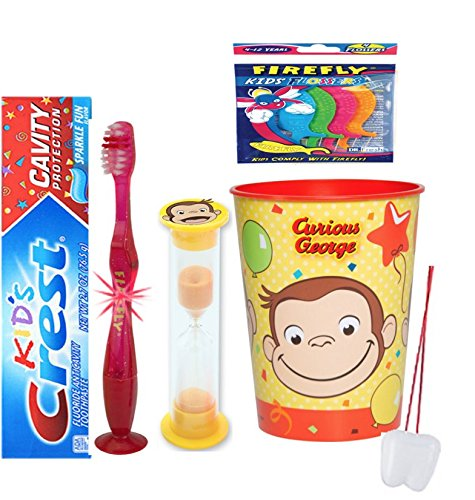 Curious George Inspired 4pcs Bright Smile Oral Set! Toothpaste, Flashing Light Toothbrush, Brushing Timer & Rinse Cup! Plus Bonus Tooth Necklace!