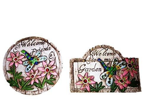 "Rustic Concrete Garden Themed Signs With flowers, Gemstones & message ""Welcome to my Garden"" One hanging plaque & one stepping stone"