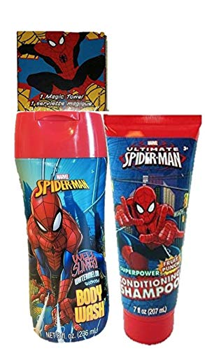 Marvel Ultimate Spiderman 2 in 1 Shampoo Amazing Spider-man Body Wash and 1 Magic Towel 3 Piece Boys Gift Set