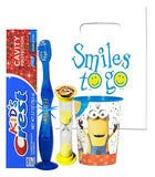 Despicable Me Minions Inspired 4pc Bright Smile Hygiene Bundle! Light Up Toothbrush, Toothpaste, Timer & Rinse Cup! Plus Bonus Tooth Necklace