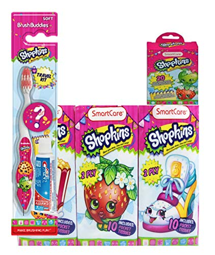 Shopkins 3-piece bundle Includes 6-pack of Tissues, 20-ct Bandages, Toothbrush and Toothpaste