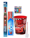 Disney's Pixar Cars Extra Soft Manual Toothbrush & Crest Toothpaste, Car's Mouthwash Rinse Cup Bundle Plus Bonus flossers and Tooth Necklace!
