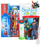 Superman 6pc. Smile Oral Hygiene Bundle Soft Toothbrush, Toothpaste, Timer & Rinse Cup Plus Dental Gift Bag & Tooth Saver Necklace