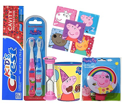 Brushbuddies Peppa Pig Girl's All Inclusive Bathroom Collection Bundle with One Crest kids Toothpaste, Brushing Timer, Rinse Cup, Night Light & Stickers!