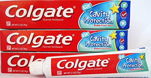 Colgate Toothpaste Kids Cavity Protection, 3 Pack, and Dr. Fresh Kids Toothbrushes (5 Pack) Bundle
