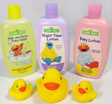Sesame Street Body Baby Wash, Baby & Night Lotion with Toy Bath Duck Set and Small Mesh Laundry Bag in a Bin (Purple)