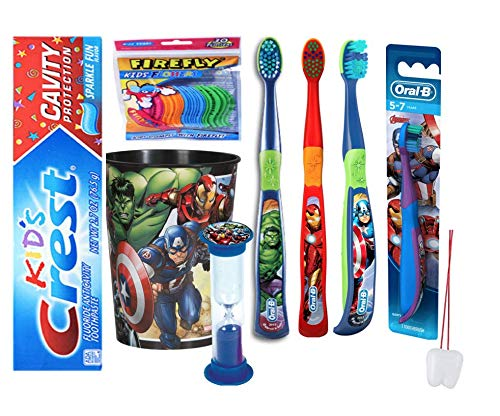 Ultimate Marvel Super Hero Inspired 7pcs Bright Smile Hygiene Set! Toothpaste, 1pk Flossers, Cup, 4 Toothbrushes, & Timer Plus Bonus Tooth Necklace