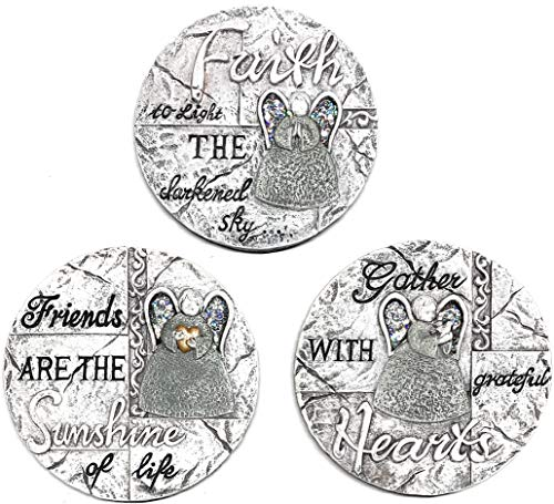 Floral Garden Inspirational/Angel Stepping Stones Friends, Faith, Hearts (Set of 3)