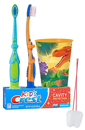 Dinosaurs Inspired 4pc. Bright Smile Oral Hygiene Set! Dino Toothbrush, Toothpaste & Mouthwash rinse Cup!Plus Bonus Tooth Necklace!