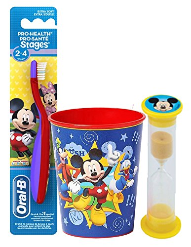 Disney Mickey Mouse Inspired 3pc. Bright Smile Oral Hygiene Set! Toothbrush, Crest Kids Sparkle Toothpaste & Brushing Timer!