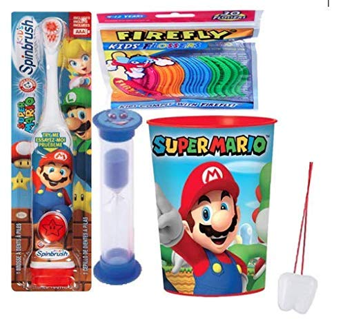 Super Mario Brothers 3pcs Bright Smile Hygiene Bundle! Turbo Spinbrush Toothbrush, Brushing Timer Mouthwash Rinse Cup! Plus  Tooth Saver Necklace!