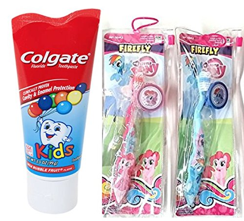 My Little Pony Toothbrush, Travel Pouch, Toothbrush Cap Plus Colgate 3.5 oz Fluoride Toothpaste Bundle