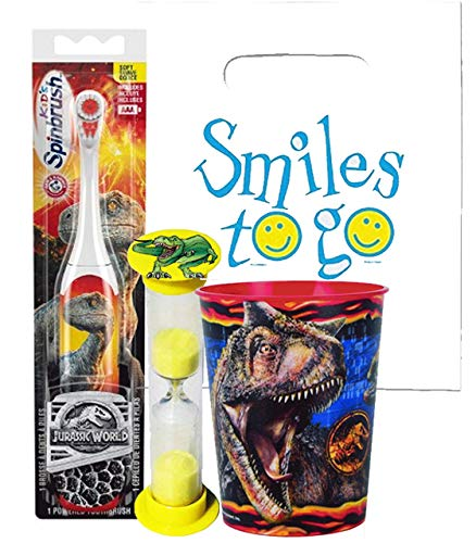 Jurassic World 3pc Bright Smile Oral Hygiene Bundle! T-Rex Dinosaur Turbo Spin Toothbrush, Timer & rinse Cup! Plus Bonus Tooth Necklace