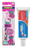 Crest Kids Toothpaste, FireFly Hello Kitty Suction Cup Toothbrush with Cap Kids Dental Travel Kit Bundle Set