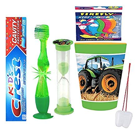 Tractor Inspired 4pcs Bright Smile Oral Bundle! Toothpaste, Flashing Light Toothbrush, Brushing Timer & Rinse Cup! Plus Bonus Tooth Necklace!