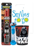 Star Wars Light & Sounds Darth Vader 3pc Bright Smile Hygiene Bundle Red Lightsaber Toothbrush, Timer & Rinse Cup Plus Dental Gift & Visual Aid