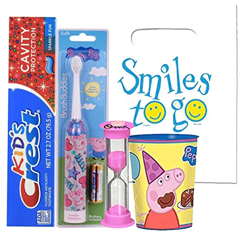 Peppa Pig Inspired 4pc Bright Smile Oral Hygiene Bundle! Turbo Spin Toothbrush, Toothpaste, Brushing Timer &Rinse Cup! Plus Bonus Tooth Necklace