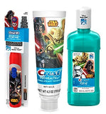 Ready Set Brush Star Wars Darth Vader Star Wars Battery Powered Spin Toothbrush ! Plus Star Wars Crest ProHealh Jr. Toothpaste & Crest Pro-Health Jr. Star Wars Mouth Wash!