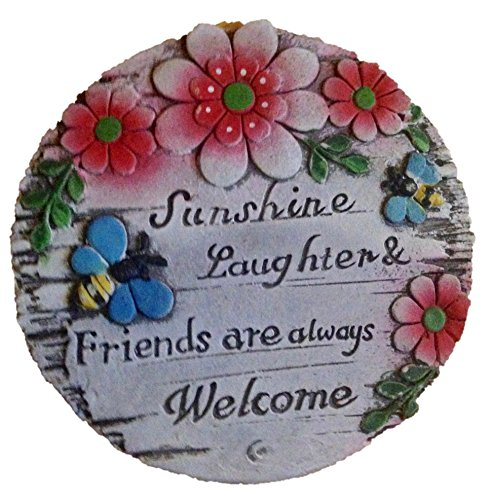 Garden Decor! Gardening Stone or Plaque Variety Pack of 2: Sunshine, Laughter & Friends are Always Welcome and Friends are The Flowers in The Garden of Life