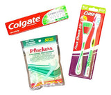 Dental Care Braces Bundle - Three Items: Close-up Fresh Breath Kit, Colgate Sparkling White Toothpaste, and  Plackers Dental Flossers