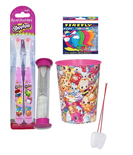 Shopkins Inspired 4pcs Bright Smile Oral Hygiene Bundle! 2pk Toothbrush, Brushing Timer & Mouthwash Rinse Cup! Plus Bonus Tooth Necklace!