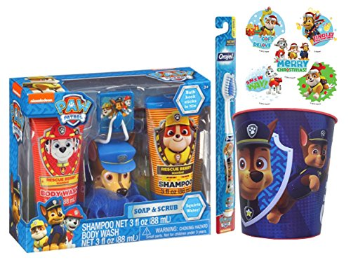 "Nickelodeon Paw Patrol ""Chase"" Inspired Kids Berry Scented Bath Time Gift Set, 6 Pc! Plus Bonus Paw Patrol Stocking Stuffer Holiday Stickers!"