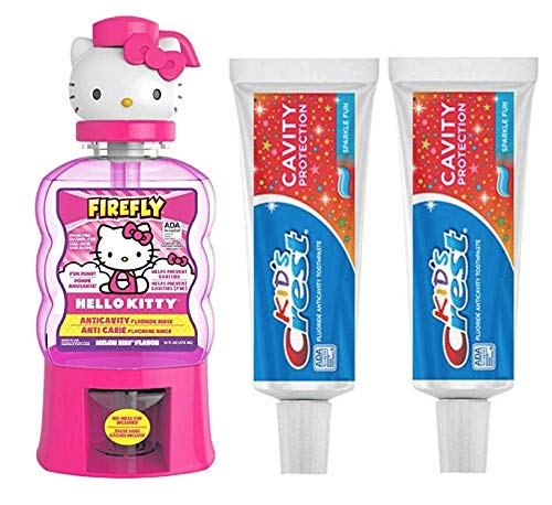 Crest Kid's Tooth Paste (2 Pack) Bundle with Firefly Hello Kitty Mouthwash Anti-Cavity, Melon Kiss