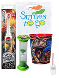 Jurassic World 3pc Bright Smile Hygiene Bundle T-Rex Dinosaur Turbo Spin Toothbrush, Timer & Rinse Cup Plus Dental Gift Bag & Necklace