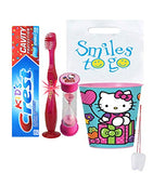 Hello Kitty Inspired 4pc Bright Smile Oral Hygiene Bundle! Light Up Toothbrush, Toothpaste, Brushing Timer & Rinse Cup! Plus Bonus Tooth Necklace