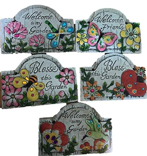 Concrete Wall Plaques for Garden Bundle of 5 with Sayings Butterfly Dragonfly Bumblebee Humming Bird Ladybug