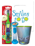 Trolls Branch Inspired 3pc Bright Smile Oral Hygiene Bundle! Turbo Toothbrush, Brushing Timer & Mouthwash Rinse Cup! Plus Bonus Tooth Necklace