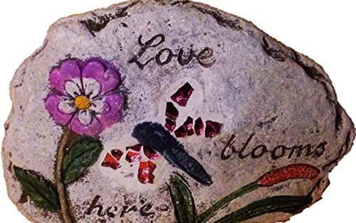 Decorative Garden stone with Stain Glass and Message: (one Stone) Love Blooms Here