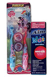 Firefly My Little Pony Toothbrushes - Two (2) Toothbrushes with Travel Caps and Aim Kids Mega Bubble Berry Toothpaste