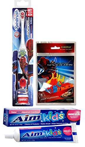 Ready...Set...Brush! Kids Spider-Man Turbo Powered Spinbrush & Spiderman Floss- 36 Count! Plus Bonus Aim Kids Mega Bubble Berry Gel Toothpaste, 4.8 oz.