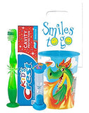 Fire Breathing Dragon Inspired 4pc Bright Smile Hygiene Bundle! Light Up Toothbrush, Toothpaste, Timer & rinse Cup!Plus Bonus Tooth Necklace