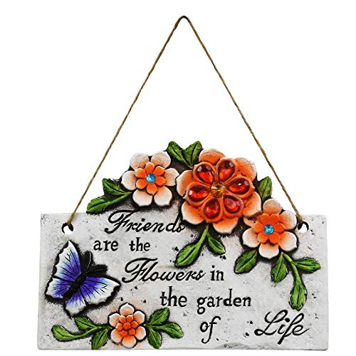 Garden Collection Spring Cement Hanging Plaque Inspirational Sayings and Sparkly Gemstones (one Stone) Friends are The Flowers in The Garden of Life