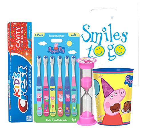 Peppa Pig 9pc Bright Smile Hygiene set! 6pk Toothbrush, Toothpaste, Timer & rinse Cup! Plus  Tooth Necklace!