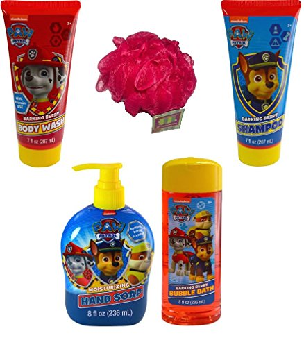 Paw Patrol Bath and Body Bundle - 5 Items: Barking Berry Collection of Body Wash, Bubble Bath, Shampoo, Hand Soap, with Bonus Bath Sponge (Red)