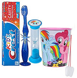 "My Little Pony ""Rainbow Dash"" Inspired 4pc Bright Smile Oral Set! Flashing Lights Toothbrush, Toothpaste, Timer & Cup! Plus  Bonus Tooth Necklace!"