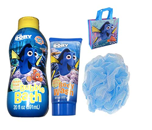 Disney Pixar Finding Dory Bubble Bath, Body Wash And bath Pouf Bundle with a Dory Reusable Tote Bag