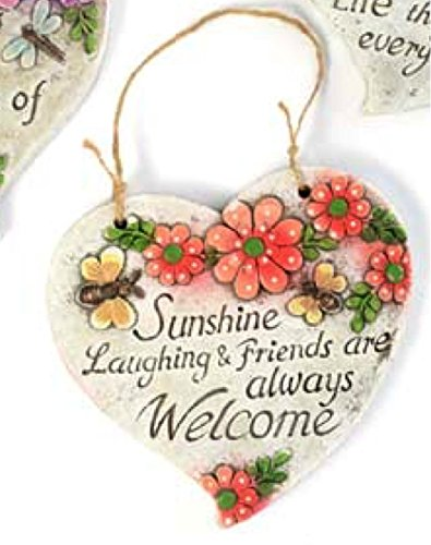 Inspirational Spring Outdoor Garden Decor - Heart-Shaped Hanging Floral Plaques (Friends)