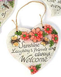 Inspirational Spring Outdoor Garden Decor - Heart-Shaped Hanging Floral Plaques (Welcome)