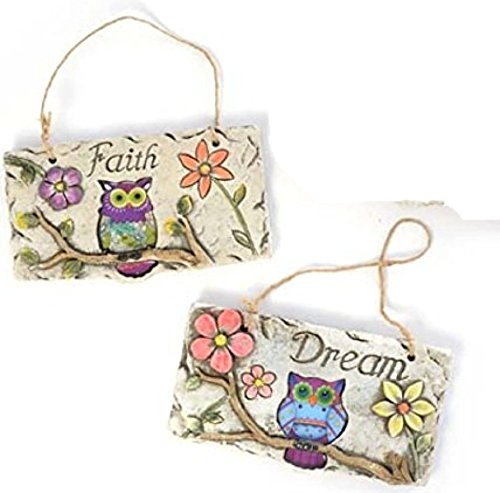 Owl Hanging Wall Plaques Signs With Garden Flowers Rustic Concrete ( Dream & Faith)