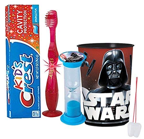 Star Wars Darth Vader Inspired Boys 4pc Bright Smile Hygiene Set! Flashing Lights Toothbrush, Toothpaste, Timer & Cup! Plus Bonus Tooth Necklace!