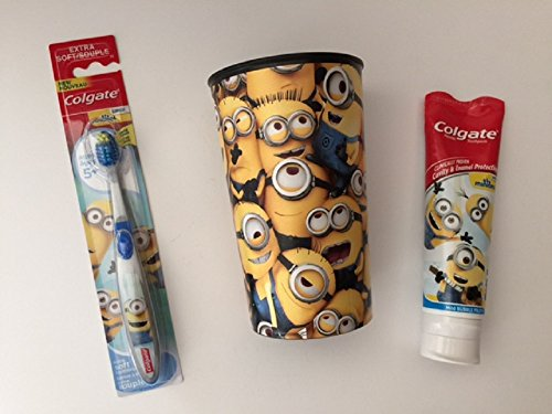Minions Toothbrush Bundle Cup Toothpaste Brush Kids Colgate Cavity Fighting Fluoride