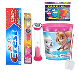 Paw Patrol Everest Inspired 4pcs Bright Smile Oral Set! Toothpaste, Flashing Light Toothbrush, Brushing Timer & Rinse Cup!Plus Bonus Tooth Necklace!