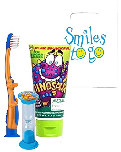 Prehistoric Dino Adventure Inspired 3pc. Bright Oral Hygiene Set T-Rex Toothbrush, Dinosaur Toothpaste & Timer Plus Dental Gift Bag & Necklace