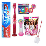 Barbie Inspired 4pcs Bright Smile Oral Hygiene Bundle! Flashing Lights Toothbrush, Toothpaste, Timer & Mouthwash Rinse Cup! Plus Bonus Flossers or Stickers & Tooth Necklace as Visual Aid Reminder